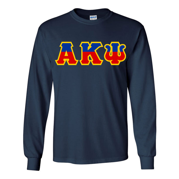 Alpha Kappa Psi Two Tone Greek Lettered Longsleeve Tee Long Sleeve Greek Lettered Tee