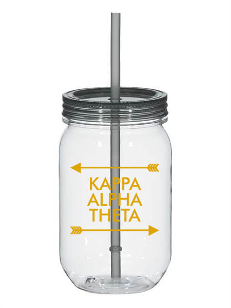 Kappa Alpha Theta Arrow Top Bottom 25oz Mason Jar