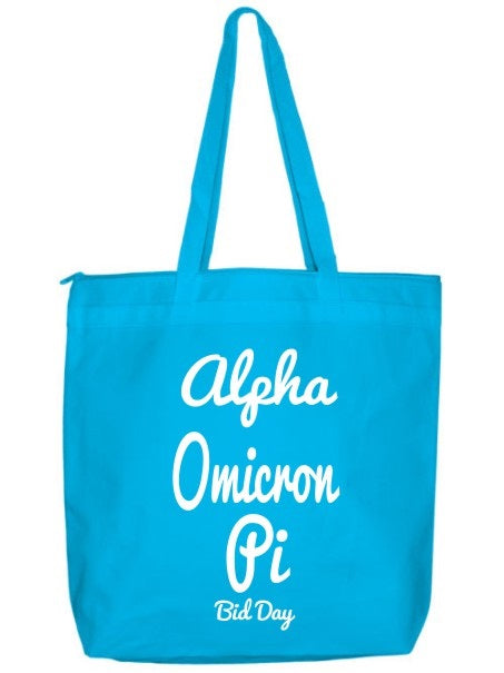 Alpha Omicron Pi Zippered Poly Tote