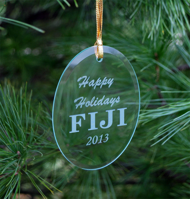 Phi Gamma Delta Engraved Glass Ornament