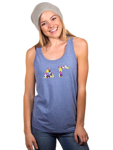 Delta Gamma Unisex Tank Top with Sewn-On Letters
