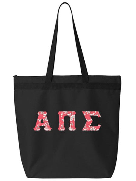 Alpha Pi Sigma Large Zippered Tote Bag with Sewn-On Letters