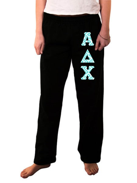 Alpha Delta Chi Open Bottom Sweatpants with Sewn-On Letters