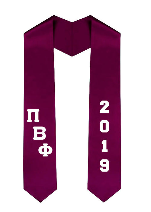 Pi Beta Phi Slanted Grad Stole with Letters & Year
