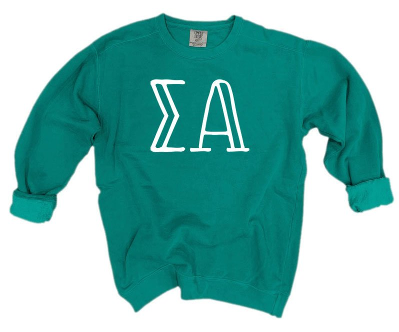 Sigma Alpha Comfort Colors Greek Letter Sorority Crewneck Sweatshirt