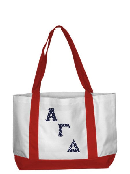 Alpha Gamma Delta 2-Tone Boat Tote with Sewn-On Letters