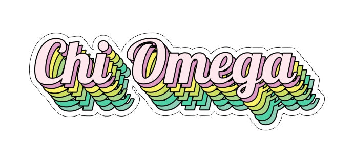 Chi Omega New Hip Stepped Sticker