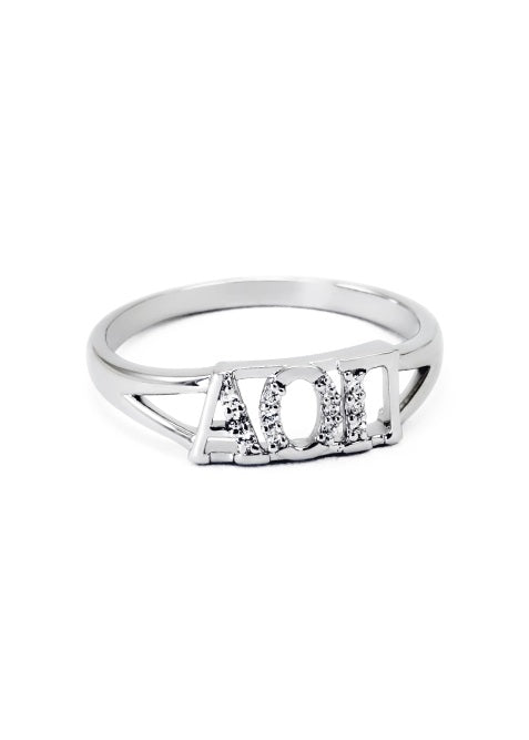 Alpha Omicron Pi Sterling Silver Ring with Lab Created Clear Diamond