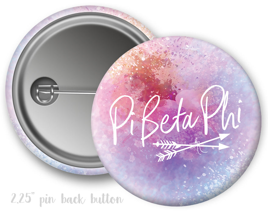Pi Beta Phi Watercolor Script Button