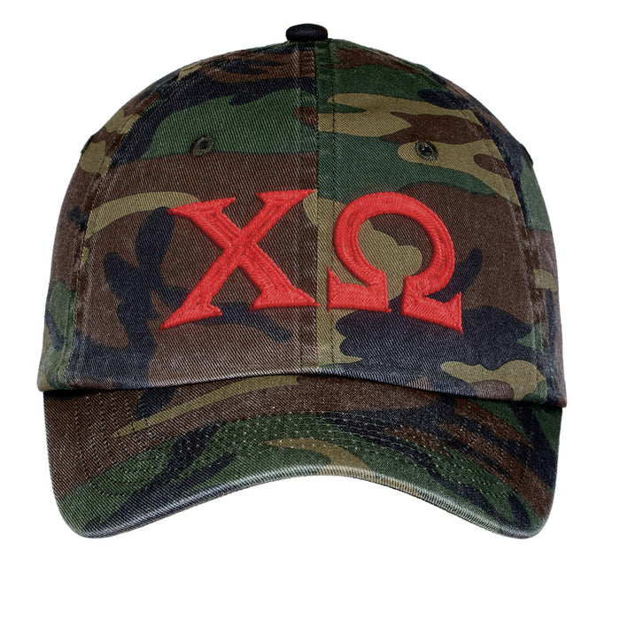 Chi Omega Letters Embroidered Camouflage Hat
