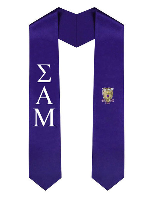 Sigma Alpha Mu Lettered Graduation Sash Stole with Crest