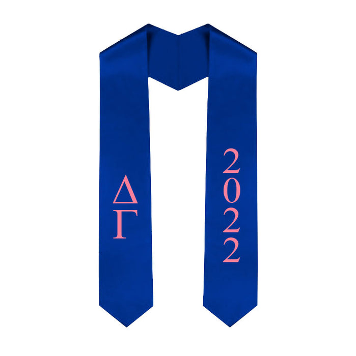Delta Gamma Vertical Grad Stole with Letters & Year