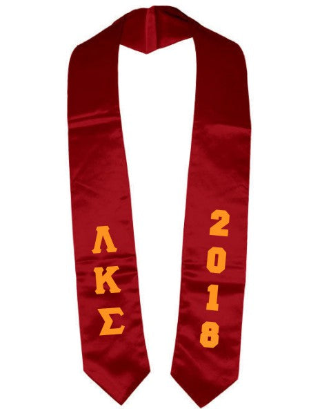 Lambda Kappa Sigma Vertical Grad Stole with Letters & Year