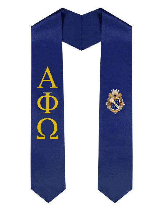 Alpha Phi Omega Lettered Graduation Sash Stole with Crest