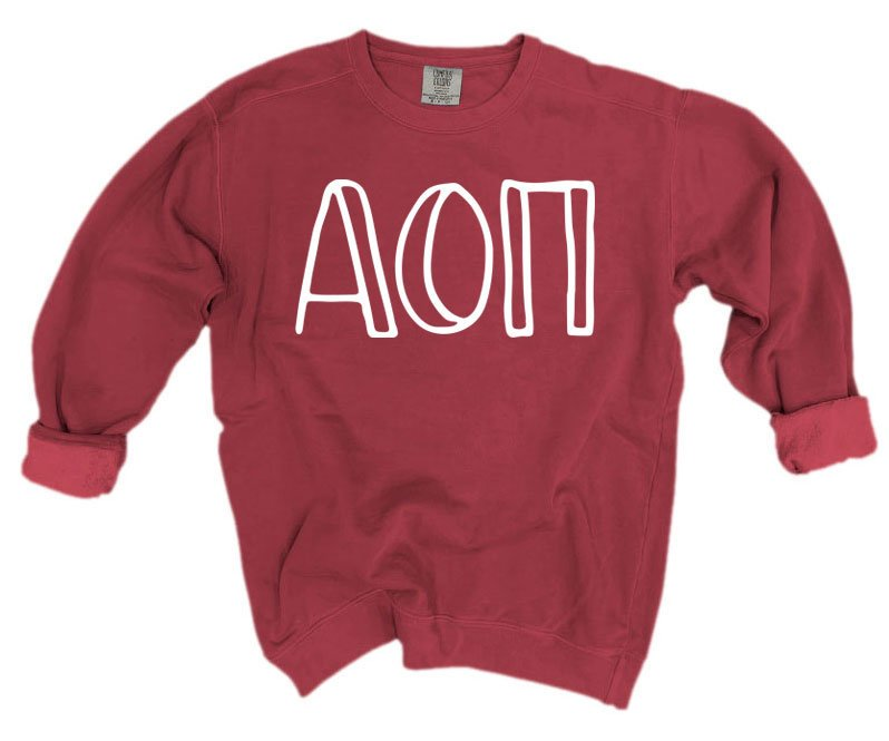 Alpha Omicron Pi Comfort Colors Greek Letter Sorority Crewneck Sweatshirt