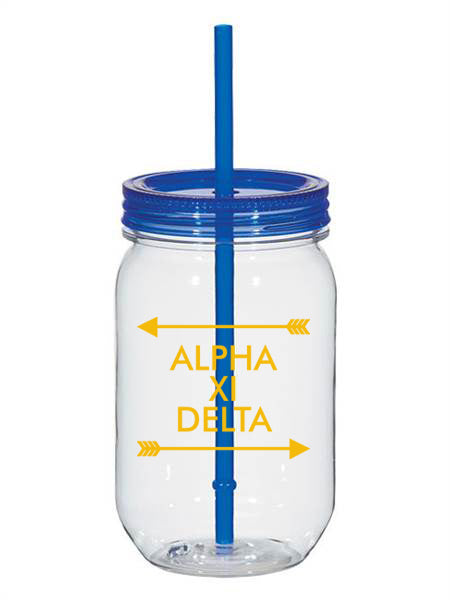 Alpha Xi Delta Arrow Top Bottom 25oz Mason Jar