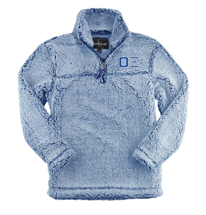 Theta Xi Embroidered Sherpa Quarter Zip Pullover
