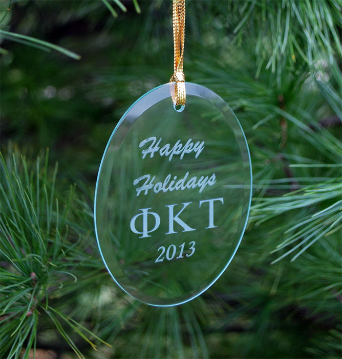 Phi Kappa Tau Engraved Glass Ornament