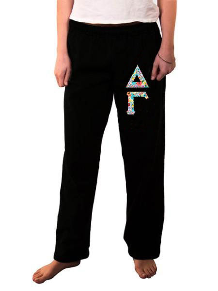 Delta Gamma Open Bottom Sweatpants with Sewn-On Letters