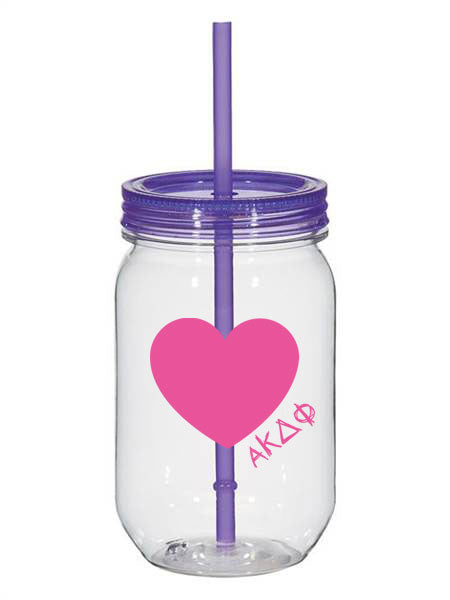 Alpha Kappa Delta Phi 25oz Scribbled Heart Mason Jar