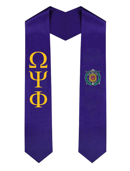 Omega Psi Phi Lettered Graduation Sash Stole with Crest