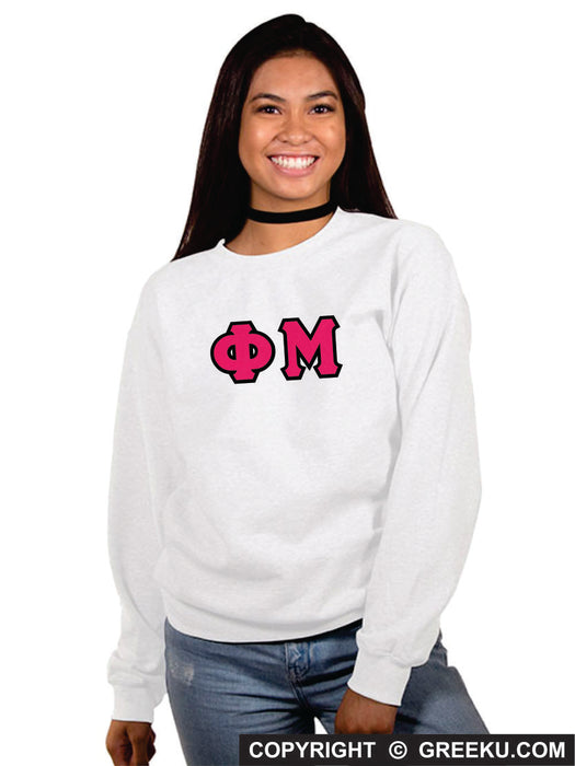Phi Mu Classic Colors Sewn-On Letter Crewneck