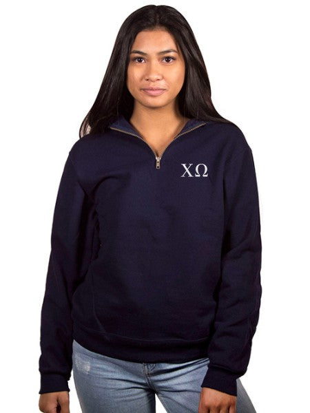 Chi Omega Embroidered Quarter Zip
