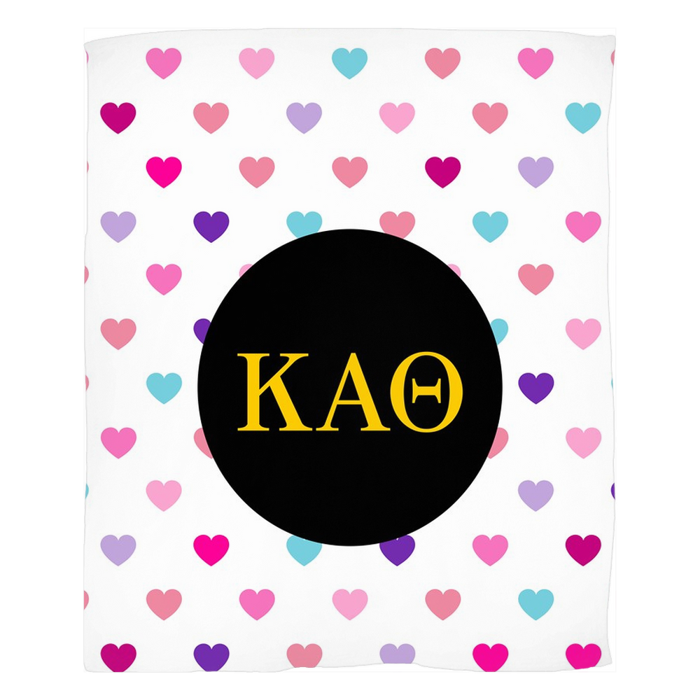 Kappa Alpha Theta Hearts Fleece Blankets Kappa Alpha Theta Hearts Fleece Blankets