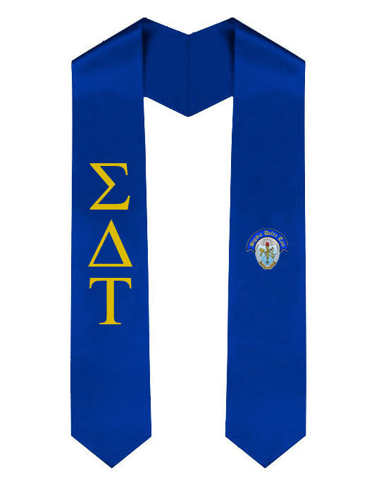 Sigma Delta Tau Lettered Graduation Sash Stole with Crest
