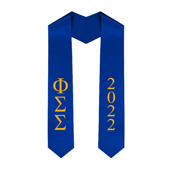 Phi Sigma Sigma Vertical Grad Stole with Letters & Year