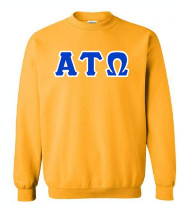 Alpha Tau Omega Classic Colors Sewn-On Letter Crewneck