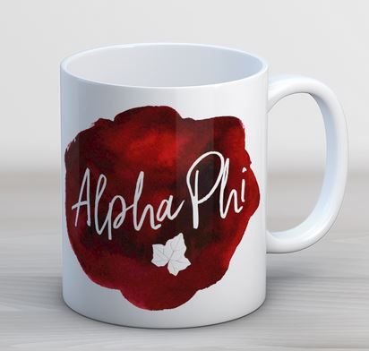 Alpha Phi Watercolor Script Coffee Mug