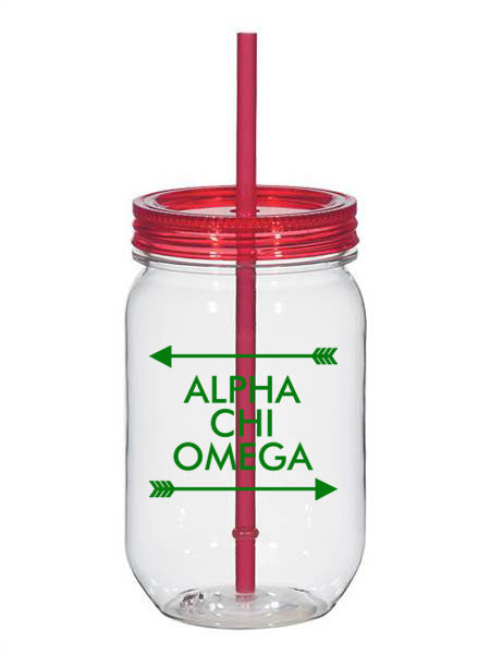 Alpha Chi Omega Arrow Top Bottom 25oz Mason Jar