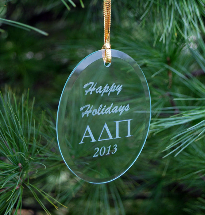 Alpha Delta Pi Engraved Glass Ornament