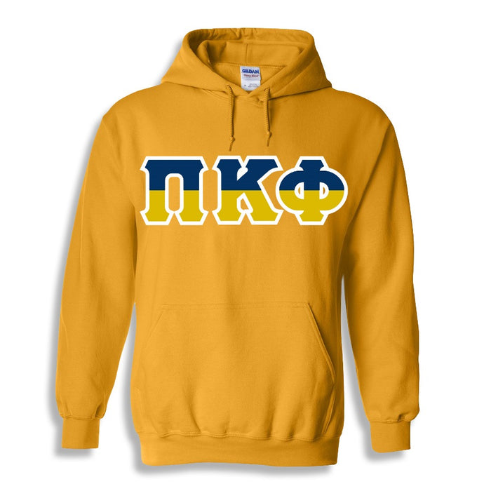 Pi Kappa Phi Two Toned Lettered Hooded Sweatshirt