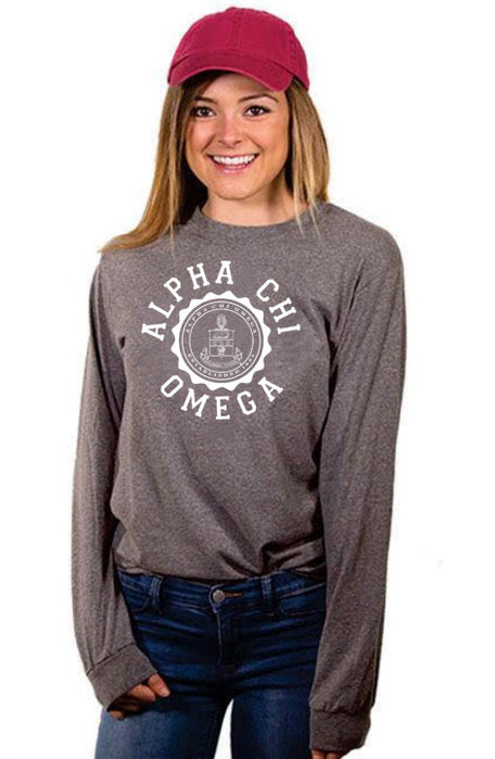 Alpha Chi Omega Crest Long Sleeve Shirt