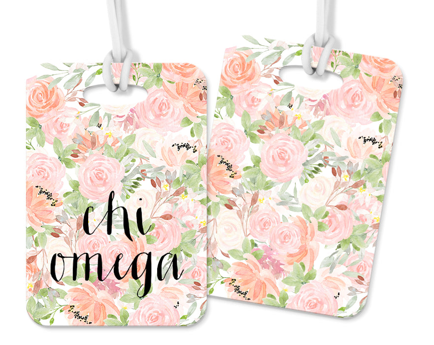 Chi Omega Pink Floral Luggage Tag