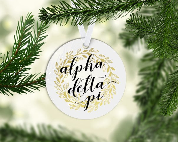 Alpha Delta Pi Round Acrylic Gold Wreath Ornament
