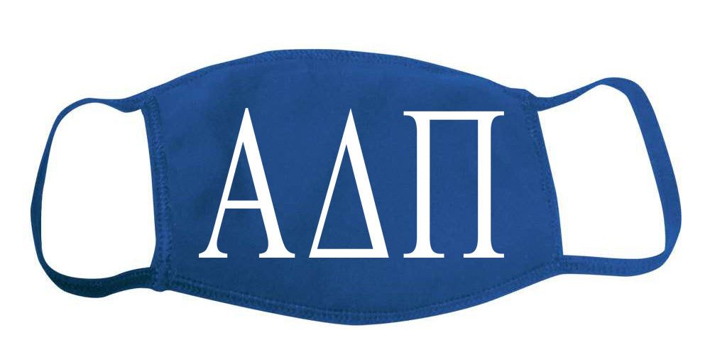 Alpha Delta Pi Face Mask With Big Greek Letters