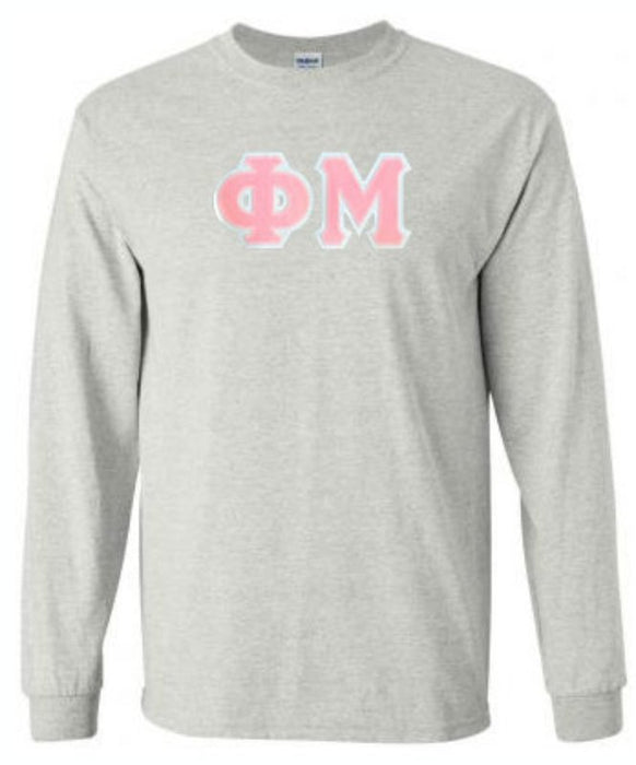 Phi Mu Long Sleeve Greek Lettered Tee