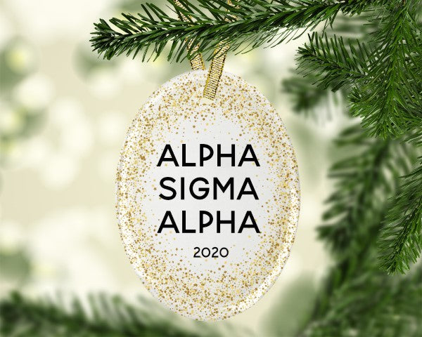 Alpha Sigma Alpha Gold Speckled Glass Ornament