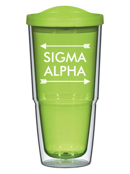Sigma Alpha Arrow Top Bottom 24oz Tumbler with Lid