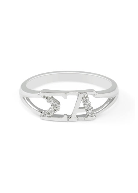 Sigma Alpha Sterling Silver Ring with Lab Created Clear Diamond
