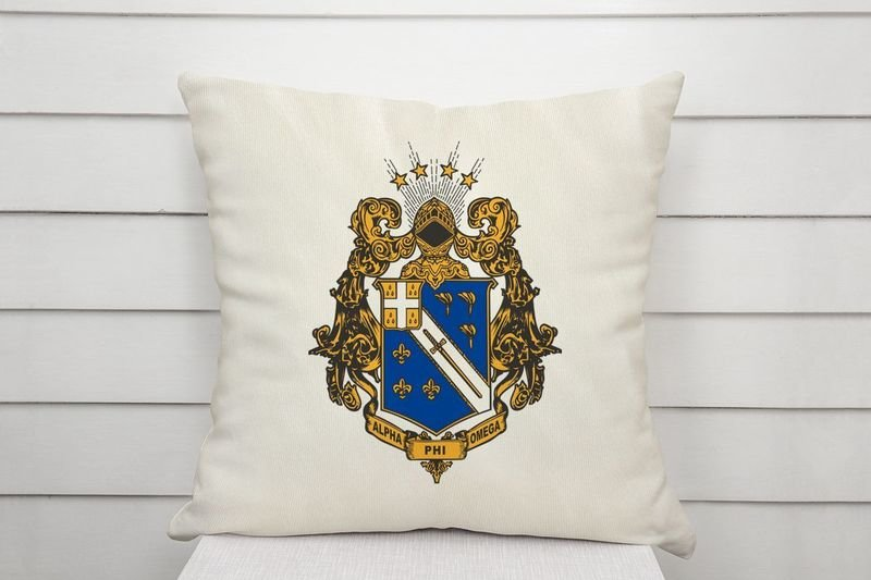 Alpha Phi Omega Linen Shield Throw Pillow