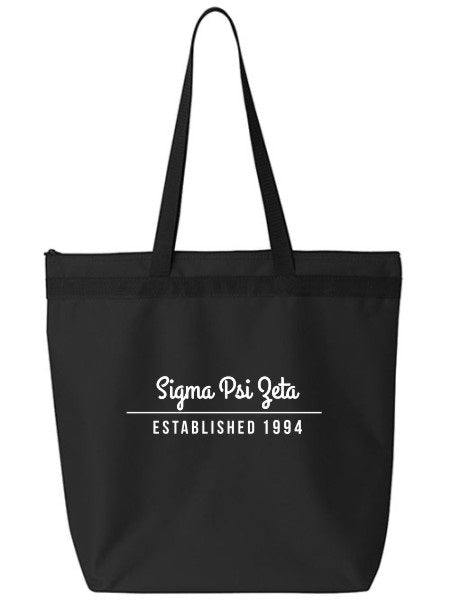 Sigma Psi Zeta Year Established Tote Bag