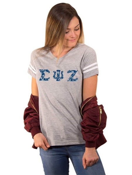 Sigma Psi Zeta Football Tee Shirt with Sewn-On Letters