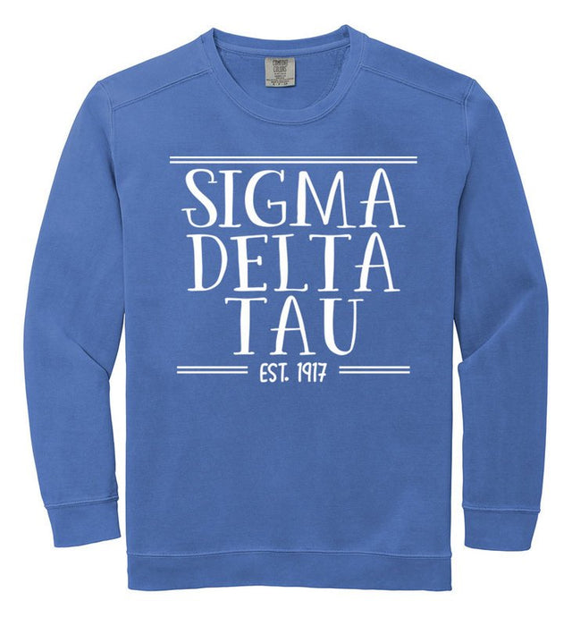 Sigma Delta Tau Comfort Colors Custom Sorority Sweatshirt
