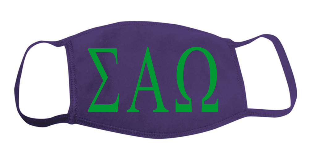Sigma Alpha Omega Face Mask With Big Greek Letters