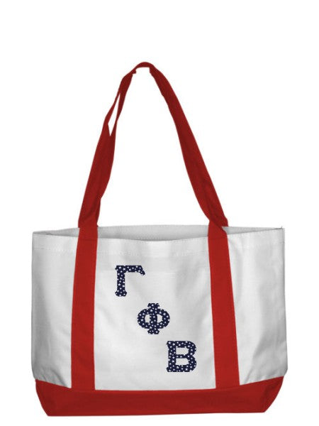 Gamma Phi Beta 2-Tone Boat Tote with Sewn-On Letters