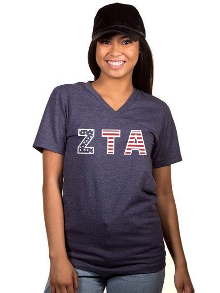 Zeta Tau Alpha All American Unisex V Neck Tee